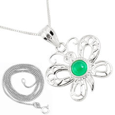1.31cts natural green chalcedony 925 silver butterfly 18' chain pendant p11876