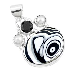 925 sterling silver 12.10cts brown florida auger shell onyx pearl pendant p12528