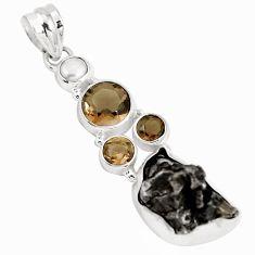 27.73cts natural campo del cielo (meteorite) pearl 925 silver pendant p12782