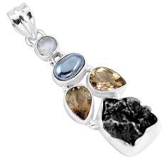 21.29cts natural campo del cielo hematite moonstone 925 silver pendant p12786