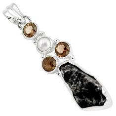 25.57cts natural campo del cielo smoky topaz pearl 925 silver pendant p12788