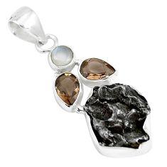 25.00cts natural campo del cielo smoky topaz moonstone 925 silver pendant p12795