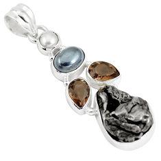 925 silver 25.66cts natural campo del cielo hematite pearl pendant p12796