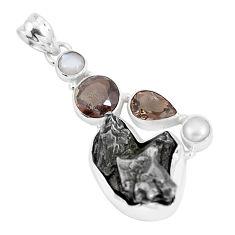 26.70cts natural campo del cielo smoky topaz pearl 925 silver pendant p12798