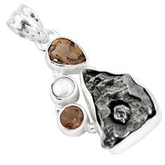 23.11cts natural campo del cielo smoky topaz pearl 925 silver pendant p12800