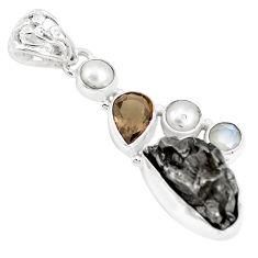 25.57cts natural campo del cielo smoky topaz pearl 925 silver pendant p12803