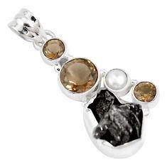 925 silver 20.33cts natural campo del cielo smoky topaz pearl pendant p12804