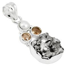 27.02cts natural campo del cielo smoky topaz pearl 925 silver pendant p12805