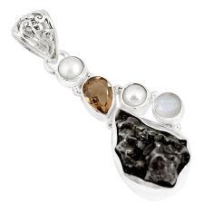 27.08cts natural campo del cielo smoky topaz pearl 925 silver pendant p12811