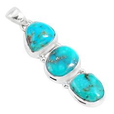 16.06cts natural green kingman turquoise 925 sterling silver pendant p12824