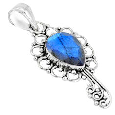 925 sterling silver 6.45cts natural blue labradorite pear pendant jewelry p13056