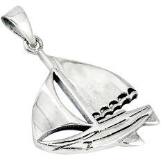 925 sterling silver plain silver viny pirate ship pendant jewelry p1331