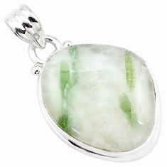 925 sterling silver 15.65cts natural green tourmaline in quartz pendant p13598