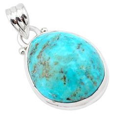 12.62cts natural green kingman turquoise 925 sterling silver pendant p13609