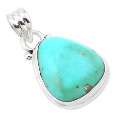 11.73cts natural green kingman turquoise 925 sterling silver pendant p13618
