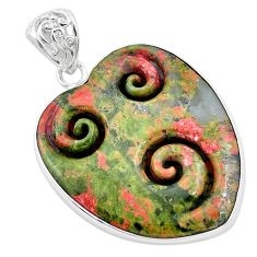 30.44cts carving natural green unakite heart 925 sterling silver pendant p13728