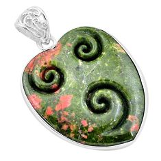 29.93cts carving natural green unakite heart 925 sterling silver pendant p13729