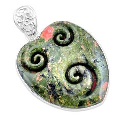 30.49cts carving natural green unakite heart 925 sterling silver pendant p13730