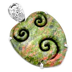 32.65cts carving natural green unakite heart 925 sterling silver pendant p13731