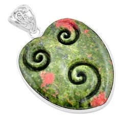 925 sterling silver 30.88cts carving natural green unakite heart pendant p13732