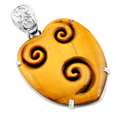 29.34cts carving natural brown tiger's eye heart 925 silver pendant p13734