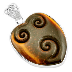 30.44cts carving natural brown tiger's eye heart 925 silver pendant p13735