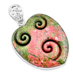 925 sterling silver 30.49cts carving natural green unakite heart pendant p13736