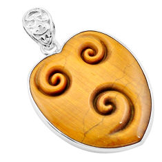 27.13cts carving natural brown tiger's eye heart 925 silver pendant p13738