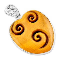 925 silver 28.70cts carving natural brown tiger's eye heart pendant p13740