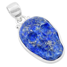925 sterling silver 14.68cts natural blue lapis lazuli skull pendant p13744