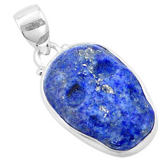 15.08cts natural blue lapis lazuli 925 sterling silver skull pendant p13746