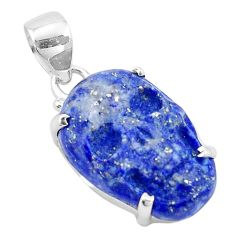 925 sterling silver 16.28cts natural blue lapis lazuli skull pendant p13747