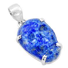 16.73cts natural blue lapis lazuli 925 sterling silver skull pendant p13756