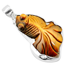 925 sterling silver 26.14cts natural brown tiger's eye fish pendant p13765