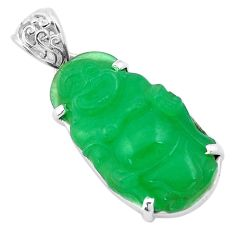 18.73cts green jade 925 sterling silver buddha charm pendant jewelry p13776