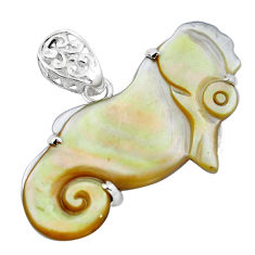 925 sterling silver 20.07cts natural white blister pearl seahorse pendant p13789
