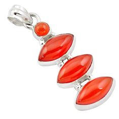 16.87cts natural orange cornelian (carnelian) 925 sterling silver pendant p13846