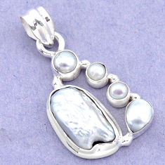 9.32cts natural white biwa pearl pearl 925 sterling silver pendant p13852