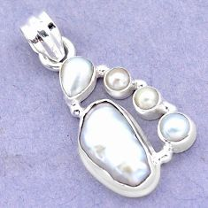 9.67cts natural white biwa pearl pearl 925 sterling silver pendant p13856