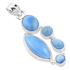 13.71cts natural blue owyhee opal 925 sterling silver pendant jewelry p13871