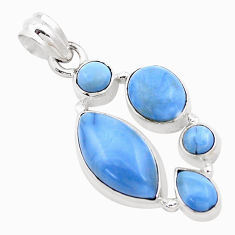 14.12cts natural blue owyhee opal 925 sterling silver pendant jewelry p13873