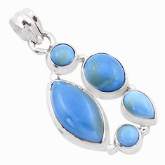 14.02cts natural blue owyhee opal 925 sterling silver pendant jewelry p13879