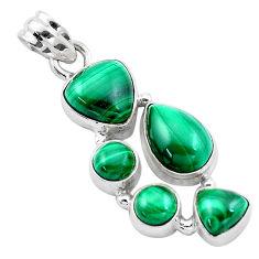 13.34cts natural green malachite (pilot's stone) 925 silver pendant p13885