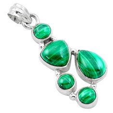 13.79cts natural green malachite (pilot's stone) 925 silver pendant p13887