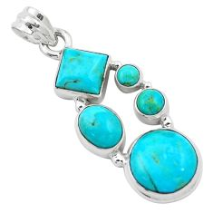 12.71cts blue arizona mohave turquoise 925 sterling silver pendant p13892