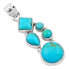 925 sterling silver 10.37cts blue arizona mohave turquoise pendant p13893