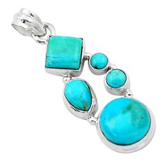 925 sterling silver 12.31cts blue arizona mohave turquoise pendant p13896