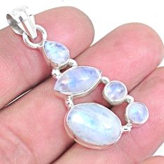 12.71cts natural rainbow moonstone 925 sterling silver pendant jewelry p14236