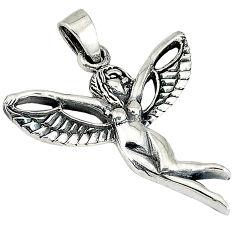 Indonesian bali java island 925 sterling silver angel wings fairy pendant p1429