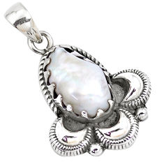 13.28cts natural white pearl 925 sterling silver pendant jewelry p14412